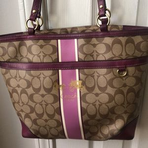 Coach Berry Heritage Stripe  Signature Handbag